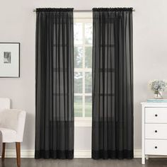 Picture of Black Emily Viole Window Curtain Panel 95-in