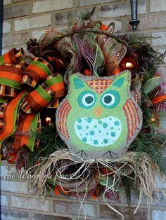 Hooter The Owl, Deco Mesh, Evergreen Sprays, Pinecones, Burlap Owl door Hanger, Halloween Wreath, Designer Ribbon, Burlap Mesh,Fall Wreath, - pinned by pin4etsy.com