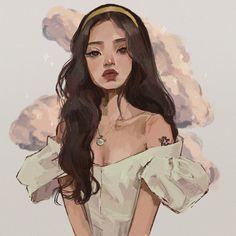 Cartoon Girl Drawing, Girl Cartoon, Art Drawings Sketches Simple, Cool Drawings, Sketch Art, Pretty Art, Cute Art, Pretty Girls, Arte Fashion