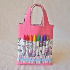 Cute bag to hold a coloring book and the art supplies.