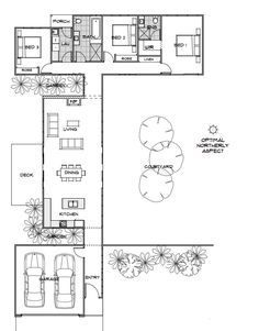 Ideal el tamaño y disposición para proteger al patio del viento.   Callisto | Home Design | Energy Efficient House Plans | Green Homes Australia - this one is about 1300 sq ft, northern deck for summer, garage close to main entry