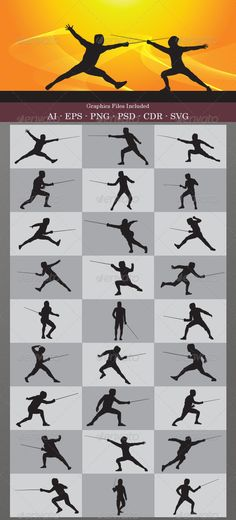 Fencing Silhouettes #GraphicRiver This is nice vector silhouettes. In this files include AI and EPS versions. You can open it with Adobe Illustrator CS and other vector supporting applications. I hope you like my design, thanks . Graphics Files