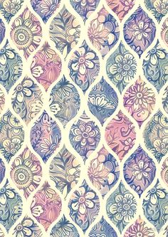 Patterned & Painted Floral Ogee in Vintage Tones by micklyn