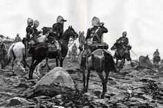 The Desert column at the beginning of the Battle   of Abu Klea. Illustration by R Caton Woodville   for the Illustrated London News