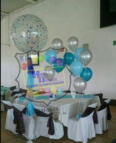 Decoración con globos bautizó
