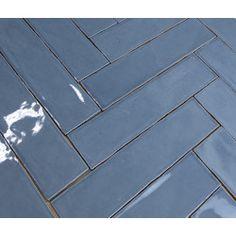 Handvorm 7.5x30cm Original blauw wandtegel