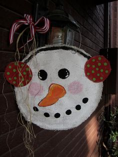 Snowman Christmas Burlap Door Hanger Door by nursejeanneg on Etsy, $28.00