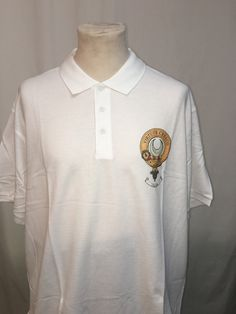 XXL cotton polo shirt with printed Leask clan crest