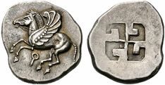 Swastika on a Greek silver stater coin from Corinth, century BC. Viking Symbols, Egyptian Symbols, Viking Runes, Ancient Symbols, Mayan Symbols, Ancient History, Antique Coins, Old Coins, Rare Coins