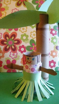 Hula Girl Paper Roll Craft with a Paper Roll Palm Tree