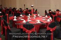 Red and Black Wedding place settiings