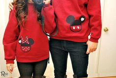 Mickey/Minnie Sweetheart Sweatshirts Disney Inspired Shirt Mickey And Minnie Couple Shirts on Etsy, $23.00