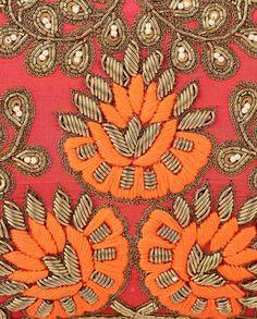 Coral Marigold Zari Clutch