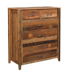 Reclaimed Barnwood Shefford 6-Drawer Chest Decorate your bedroom with the colors of authentic barnwood! This chest is made with aged barnwood. Comes in choice of finish and hardware. You can have the nail holes filled for a smoother look if you wish. Amish made in Ohio. #rusticbedroom #chestofdrawers #bedroomfurniture