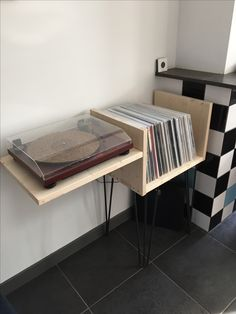 Homemade record player stand with vinyl storage. Hairpin legs.