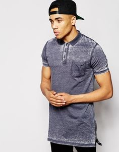 ASOS Super Longline Polo Shirt In Burnout With Side Zips And Stepped Hem