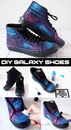 Galaxy Shoes Step up your sneaker game with DIY Galaxy Shoes that are out of this world!Step up your sneaker game with DIY Galaxy Shoes that are out of this world! Painted Sneakers, Painted Shoes, Diy Galaxie, Diy Galaxy Shoes, Galaxy Crafts, Diy Vetement, Shoe Crafts, Decor Crafts, Diy Crafts