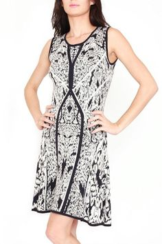 """Jacquard knit dress features a Black/White/Grey abstract design in this feminine fit-and-flare silhouette of a sleeveless dress. Round neck, sleeveless, solid trim, printed body Fit-and-flare silhouette.    Measures: 37.5"""" L   Jacquard Sleeveless Dress by Casting. Clothing - Dresses - Printed Miami, Florida"""