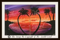 """""""Hawaiian Sunset""""  (double canvas) Artist:  Kevin Grab Created:  10.11.13 A double canvas painting created for Date Nights at the studio."""