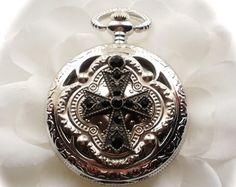 PIRATE Skull Pocket Watch or Necklace Pocket by AutomatonJourney
