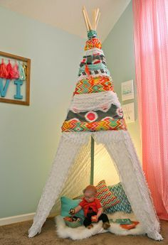 I don't have any little ones, but I can't wait to be a grandma one day, so I might make it now in anticipation and have playtime myself!  Oh So Lovely DIY no sew teepee