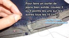 Heureusement, il existe un truc de pro pour faire un ourlet de jeans solide sans utiliser de machine à coudre. L'astuce est de tripler le point tous les 10 cm.   Découvrez l'astuce ici : http://www.comment-economiser.fr/comment-faire-ourlet-de-jeans-solide-sans-machine-a-coudre.html?utm_content=buffere5e94&utm_medium=social&utm_source=pinterest.com&utm_campaign=buffer