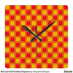 Red and Gold Outlined Squares Square Wall Clock