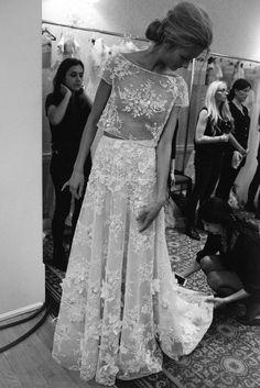 Backstage. Mira Zwillinger Spring 2016 Bridal / Photo: The LANE