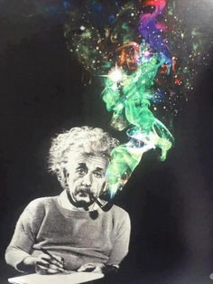This psychedelic piece suggest that Einstein used to smoke hallucinogenic substances to fuel his brilliant scientific brain. What drew me to this image is the vibrancy off the smoke that contrasts against the grey figure that is Einstein. Psychedelic Art, We All Mad Here, Psy Art, E Mc2, Photocollage, Bizarre, Oeuvre D'art, Collage Art, Cool Art