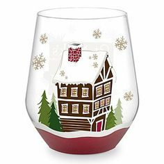 """St. Nick's Wine Lodge Hand-Decorated Stemless Wine Glass by Epic Products. $26.99. Capacity 16 Oz. Made with 100% non-toxic paint. Dimensions: 3 1/2"""" x 4 1/4"""". Meticulous detailing and exclusive wrap-around designs. ###############################################################################################################################################################################################################################################################"""