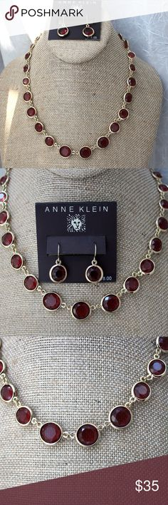 ANNE KLEIN Crystal Necklace Earrings Set Nordstrom ANNE KLEIN Crystal Necklace Earrings Set Nordstrom Earring Card.  Very pretty set.  Earrings only are on the card.  Color is like cranberry or plum wine. NOT RED !  EUC .  Great set for wine tastings !  Yes ! Anne Klein Jewelry