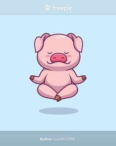 Cute pig yoga cartoon illustration | Premium Vector #Freepik #vector