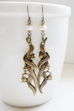 Lily of the valley earrings, brass