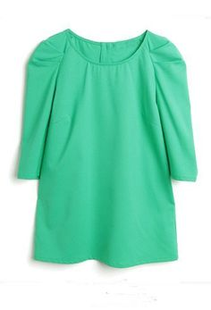 Mint Green Puff Half Sleeve Star Button Back T-shirt. This site is AMAZING. Great clothes for great prices!
