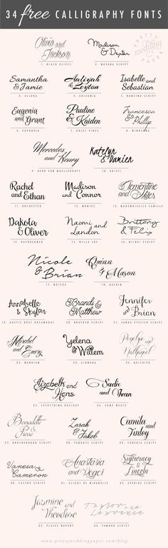 A follow-up to my post about amazing modern calligraphy fonts: here are 34 FREE calligraphic script fonts for hand-lettered, flowing wedding stationery! All the fonts listed below are absolutely free for personal use (some are free for commercial use, too – check the license!) which means you can use any and all of these to … http://www.prettyweddingpaper.com/blog/34-free-calligraphy-script-fonts-for-wedding-invitations/?utm_content=buffera3c35&utm_medium=social&utm_source...