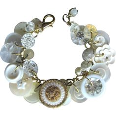 Charm Bracelet of Vintage Buttons in White with Rhinestones – Glass – MOP – Lucite – Faux Pearls