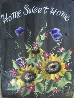 Slate Welcome Signs | ... Hand Painted Slate Welcome Sign SUNFLOWERS, UV protective paints