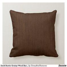 Dark Rustic Grainy Wood Background Throw Pillow Dark Walnut, Dark Wood, Brown Cushions, Grain Texture, Wood Background, Decorative Cushions, Wood Colors, Custom Pillows, Wood Grain