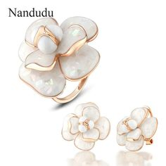 Blooming Flower Ring Earrings Jewelry Sets Rose Gold Color Metal Women Female Ring Earring Jewelry Gift R681 E36