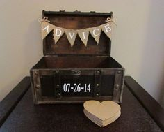 Unique Wedding Guest Book, Advice Guest Book, Advice Trunk with Burlap Banner, Alternative Guest Book, Advice Trunk Guest Book with Hearts by AnArtsyAffair on Etsy https://www.etsy.com/listing/195975270/unique-wedding-guest-book-advice-guest