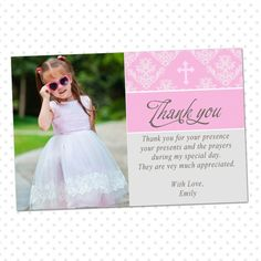 Printable Custom Pink Damask Photo Baptism Thank You Card Notes - 1st Communion Thank You Cards Christening Thank You Cards Party Item
