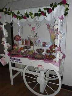 Vintage Sweet Cart Hire from http://www.rosiecarts.co.uk Candy cart looked beautiful last night, with the fairy lights!