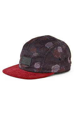 FLORAL TIGER Maroon 5Panel Hat w Corduroy Brim by Entree LS    use repcode: ralphiwarren for 20% off on your total purchase