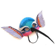 Humming Bird Leather Mask Halloween Animal Hummingbird Multicolor... ($75) ❤ liked on Polyvore featuring costumes, wing costume, party halloween costumes, party costumes, adult animal halloween costumes and white party costumes