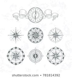 Similar Images, Stock Photos & Vectors of Vector antique compasses with ornate dials for use as design elements in vintage or retro nautical and marine concepts, black and white - 226258699 Vector Pop, Color Vector, Free Vector Images, Vector Free, Mandala Compass Tattoo, Calligraphy Borders, Transportation Logo, Monochrome, Ticket Design