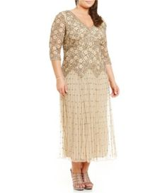 82cfa4e17c32e Pisarro Nights Plus 3 4 Sleeve Beaded Lace Gown