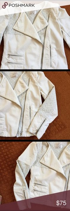 🌼SUNDAY SALE!🌼 Zara TRAFALUC moto jacket Zara TRAFALUC Moto-style denim jacket, zippers on sleeves and pockets. Two kinds of lightweight fabric are pieced to create beautiful shape and structure of this jacket. See photos for quilted fabric texture and colors. Zara Jackets & Coats
