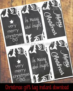 Christmas Gift Tags  Instant Download by RedBirdCustomDesigns
