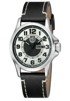 Click Image Above To Buy: Luminox Mens Automatic Field Stainless Watch - Black Leather Strap - Silver Dial - Sport Watches, Cool Watches, Wrist Watches, Tritium Watches, Automatic Watches For Men, Elegant Watches, Fashion Accessories, Stuff To Buy, Silver