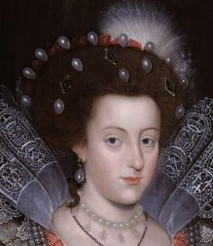 Madame Isis' Toilette: A beautiful visage- 17th century female beauty - Detail from a portrait of Elizabeth Stuart, wife of Frederick V, Elector Palatine by an unknown artist, 1613 This lady wears a shiny white makeup and more rouge than usual in this period.